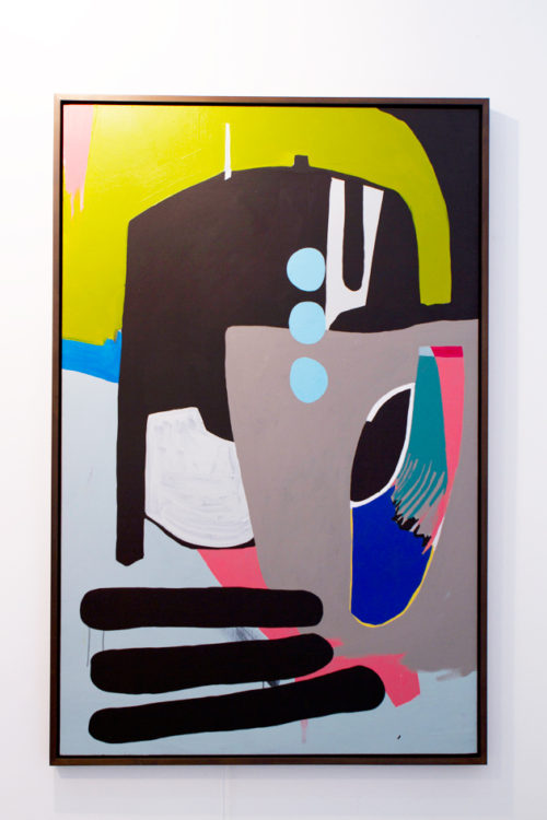 "Hayal Pozanti<br> ""Defiant Optimism""<br> Acrylic on wood<br> 73 × 47 inches<br> 2012"