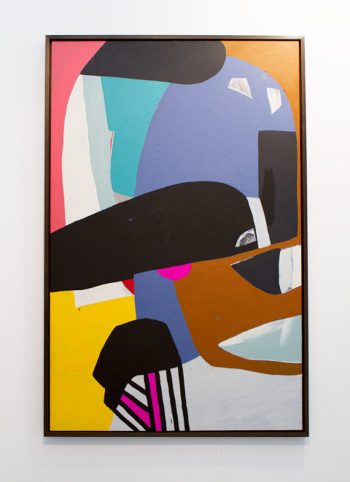 """Hayal Pozanti<br> """"Radical Transcendence""""<br> Acrylic on wood<br> 73 × 47 inches<br> 2012"""