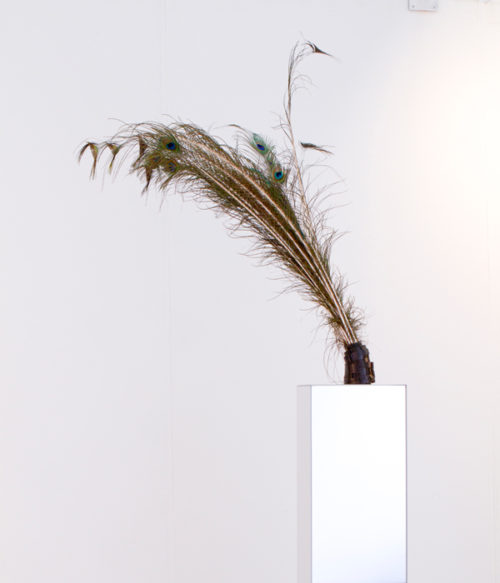Susanne M. Winterling<br> 'Feathers & Tar As Tools For Imagination And Writing From Reality,' <br> Mixed media (ink holder, feathers, tar, celluloid, and mirrored Plexi)<br> Dimensions variable<br> 2009