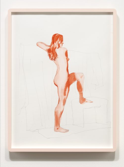 <i> Nude from life, December 2014 </i> <br> Graphite and watercolor on paper <br> 20 x 15 inches <br>  2014