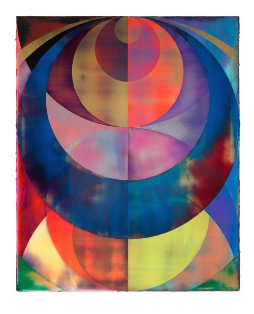 <i>Orb (Technicolor Haze)</i><br> Acrylic on canvas<br> 82.7 x 66.9 inches<br> 2013