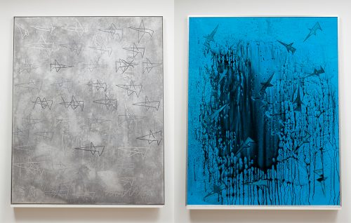 <i>wax and feathers (falling)</i><br>Gouache, ink, watercolor, canvas, wood, glass, transparency film, and alumnimum<br>60 x 48 inches (double-sided)<br>2012