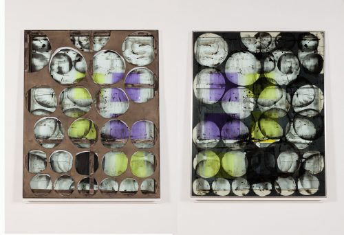 <i> contained single second loop (yellow, purple) </i> <br> Ink, polymer medium, lighting gels, acrylic sheet, wood and aluminum <br> 61 x 49 inches <br> 2014