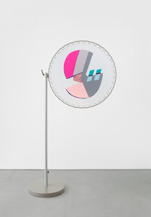 <i>6 Giggles 18 Nanotubes </i> <br /> Sun shades: Acrylic and enamel on 100% polyester<br /> Frame: Grey powdercoated steel, plastic and polyester <br /> Overall Dimensions - Width: 51 1/2 inches, Height: 88 inches <br /> Shade - Diameter: 39 inches<br /> Base - Diameter: 22 inches<br /> Pole - Height: 67.5 inches<br /> 2016