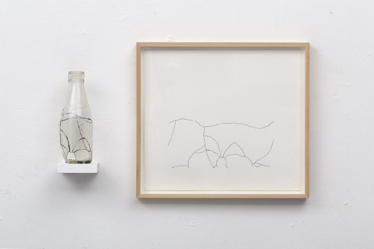 <i>Simple Fraction XII </i> <br /> Glass, araldite, shelf, drawing <br /> 14 1/8 x 25 3/16 x 3 1/2 inches<br /> 1975
