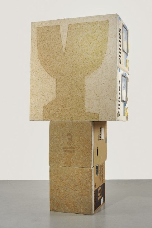 <i>3 Only (Fragile)</i><br>Pulped cardboard and acrylic on canvas on cardboard<br>84.3 x 38.4 x 29.9 inches<br>1989