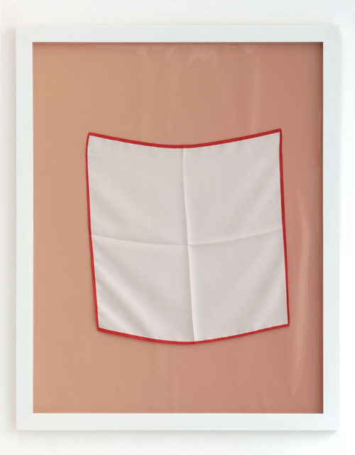 <i>Untitled (dem weissen Papier ein rotes Wort)<br>Untitled (for white paper a red word)</i><br>Kodak photopaper, silkscarf, and artist frame<br>28 1/2 x 22 1/2 inches<br>2012