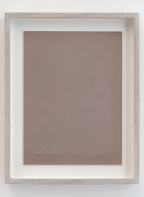 <i>Untitled (Skin too thin, agfa skin lightened through time, embossed side)</i><br>Imprint of handwriting on photographic paper<br>12 1/4 x 9 3/4 inches<br>2012<br>Unique