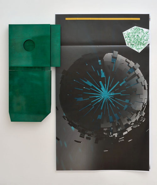 Hannah Sawtell<br>Degreasor in the Province of Accumulation 15<br>Bent lacquered steel, phosphate acid, archival laser print, magnets<br>68 7/8 x 63 3/4 x 20 7/8 inches<br>2013