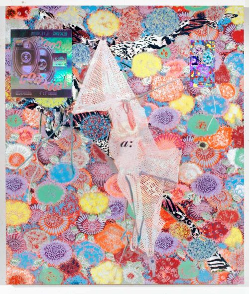 Carter Mull<br>Eastside, Westside<br>Dispersion, urethane, ink, acrylic and holographic film on dye sublimated fabric<br>40 x 34 1/2 inches<br>2013