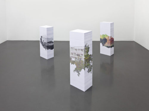 Aleksandra Domanović<br>Untitled (Marina-Lucica)<br>3 stacks of A4 paper (7,500 pages), inkjet print<br>Approximately 29 1/2 x 8 1/4 x 11 1/2 inches<br>Edition of 3 + 2AP<br>2012