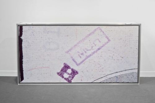 Hugh Scott-Douglas<br><i>Chopped Bill</i><br>Dye sublimation on linen in road case<br>2013<br>43 x 83 x 13 inches