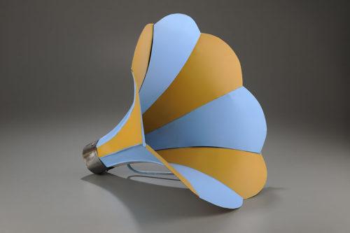 <i>Mime 3</i><br>Aluminum, wood, paint<br>16.5 x 15 x 17 inches<br>2013