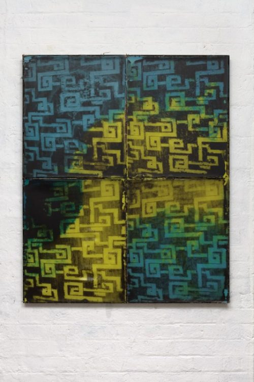 <i>Palazzo</i><br>Silkscreen on wax in welded steel tray<br>47 x 39 inches<br>2014