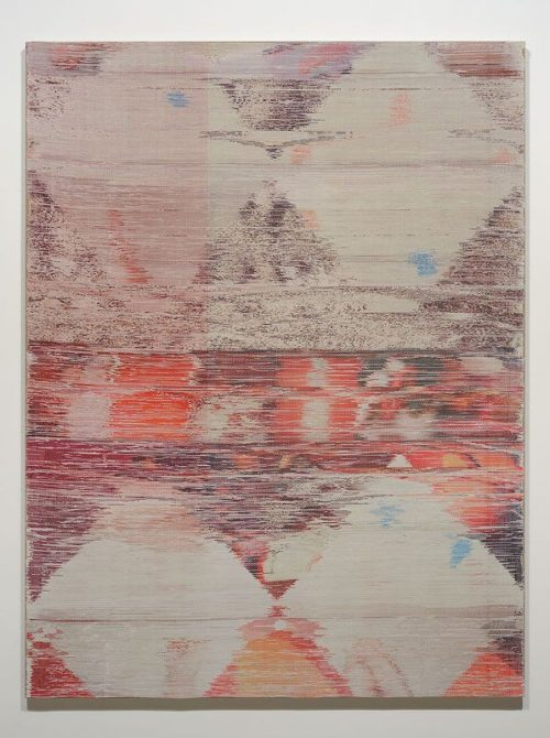 Margo Wolowiec<br><i> Moving Through the Middle</i><br>Handwoven polyester, cotton, linen, dye sublimation ink, fabric dye<br>70 x 55 inches<br>2014