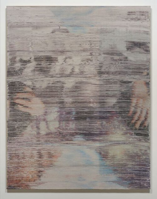 Margo Wolowiec<br><i> Somewhere Shortly After</i><br>Handwoven polyester, cotton, linen, dye sublimation ink, fabric dye<br>70 x 55 inches<br>2014