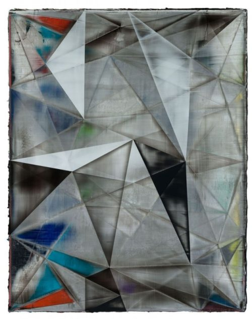 Shannon Finley<br><i>Orb Rhombus (Petrified Vectors)</i><br>Acrylic on canvas<br>55 x 43 inches<br>2014
