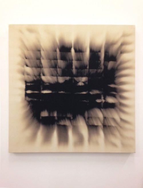 Christopher Badger<br><i>Bleach on Black Denim (2)</i><br>Bleach on black denim<br>32 x  32 inches<br>2014