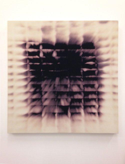 Christopher Badger<br><i>Bleach on Black Denim (4)</i><br>Bleach on black denim<br>32 x  32 inches<br>2014