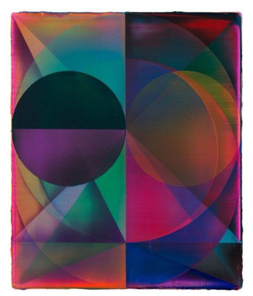 Shannon Finley<br><i>Orb (Binaries)</i><br>Acrylic on canvas<br>18 x 15 inches<br>2014