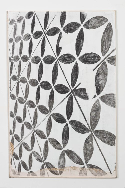 Ruairiadh O'Connell<br/><i>Classic, Etched Ripple </i> <br /> Carbon, ballpoint pen, Jesmonite, Hessian, fiber glass, rubber <br /> 42 1/2 x 26 3/4 x 1/2 inches<br /> 2016