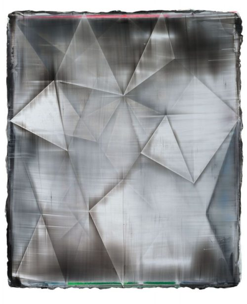 Shannon Finley<br><i>Rhombus (Wrong Co-ordinates)</i><br>Acrylic on canvas<br>18 x 15 inches<br>2014