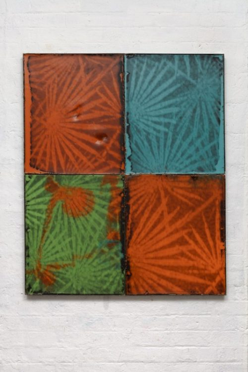 <i>Palms</i><br>Silkscreen on wax in welded steel tray<br>47 x 39 inches<br>2014