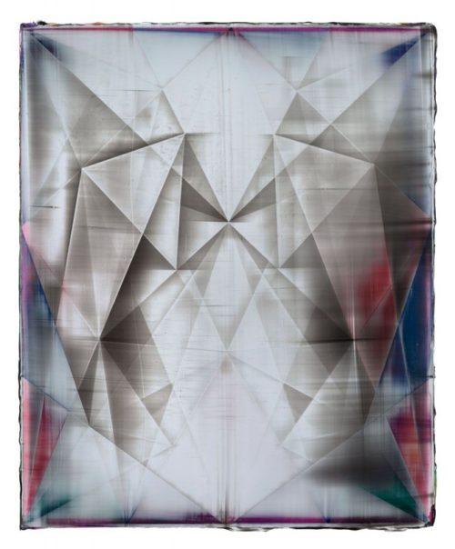 Shannon Finley<br><i>Rhombus (Vestige)</i><br>Acrylic on canvas<br>18 x 15 inches<br>2014
