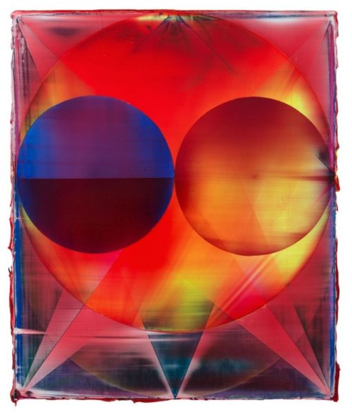 Shannon Finley<br><i>Orb (Afterburner)</i><br>Acrylic on canvas<br>18 x 15 inches<br>2014