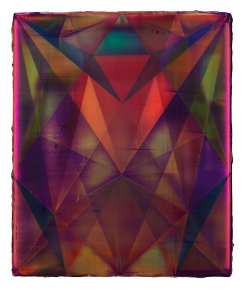 Shannon Finley<br><i>Rhombus (Refraction)</i><br>Acrylic on canvas<br>18 x 15 inches<br>2014