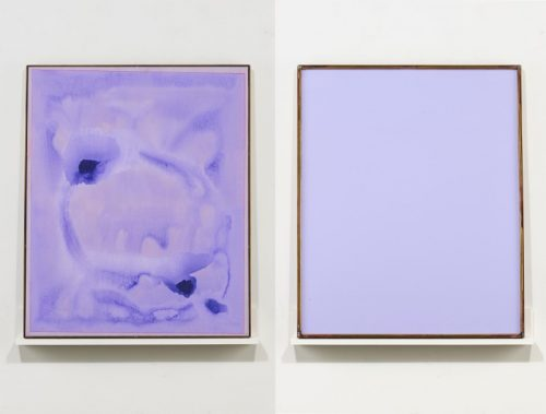 Dashiell Manley<br> <i>Untitled</i><br>Watercolor, gouache, matte medium, wood, acrylic sheet, brass, dyed linen <br>34 x 28 inches<br>2014