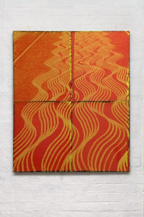 Ruairiadh O'Connell<br> <i> Orleans</i><br>Silkscreen and wax in welded steel<br>47 x 39 inches<br>2014