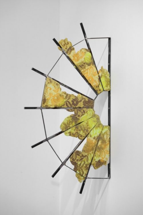 Ruairiadh O'Connell<br> <i> Untitled (RO_H04)</i><br>Steel, jesmonite, and dye<br>44 1/2 x 24 x 1 inches<br>2014