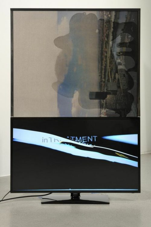 Philipp Timischl<br><i> Vienna, In Treatment</i><br>UV print on epoxy resin on canvas, monitor, HD video<br>62 x 41 x 6 inches<br>2014
