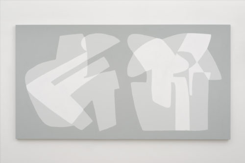 <i>42% and 40%</i><br>Acrylic on canvas<br>40 x 75 inches <br> 2015 <br> Source statistic: percentage of writers in free countries and the US who have self-censored on social media due to fear of government surveillance