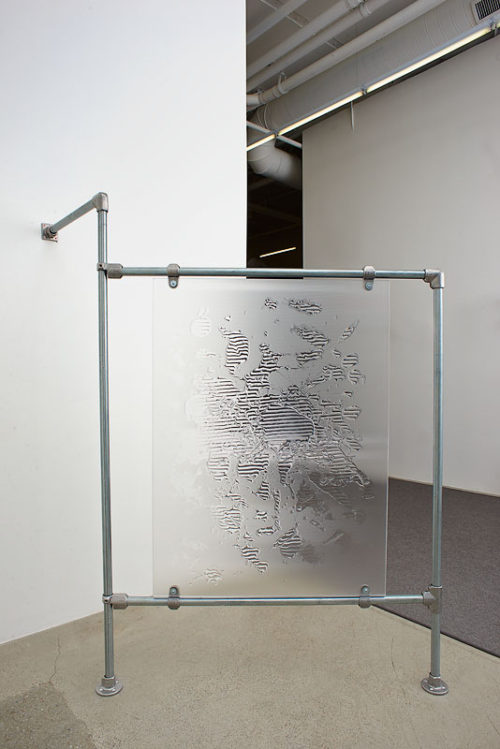 <i>Texture Map (G03)</i><br>Polyurethane on lenticular lens, plexiglas, steel wall mount<br>Dimensions variable; panel 46 1/2 x 34 1/2 inches<br>2014