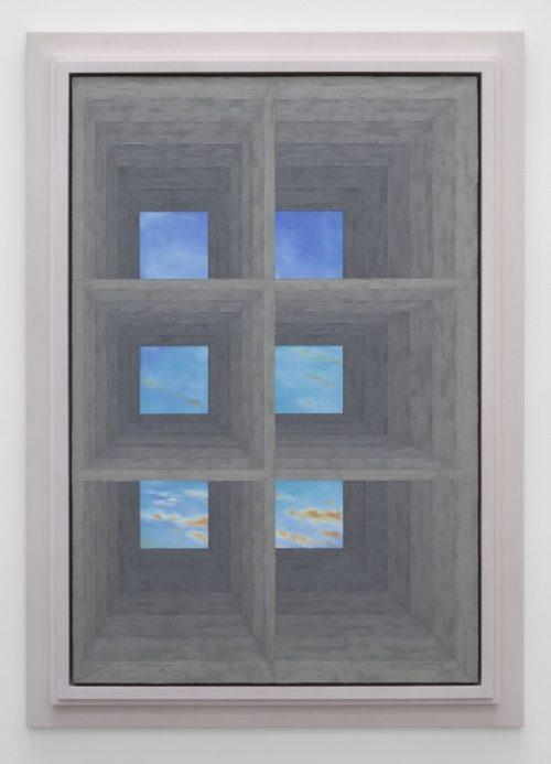 Julian Hoeber<br> <i>Six Window</i><br>Oil on linen<br>62 3/4 x 44 7/8 inches<br>2014