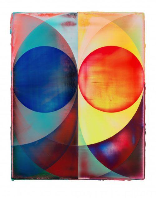 <i>Orb (Blue/Orange)</i><br>Acrylic on canvas<br>18 1/16 x 15 inches<br>2014