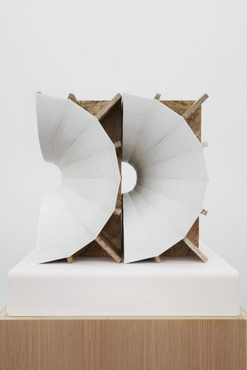 <i>Rotational Space Negative (Nested Shells) </i><br> Sculpture: Foamcore, rice paper, shellac, plywood, particle board, MDF, epoxy and lacquer<br> Pedestal: Lacquered plywood and painted pdf<br> Sculpture: 16 x 16 x 17 3/4 inches<br> Pedestal: 22 x 22 x 38 inches <br> 2016