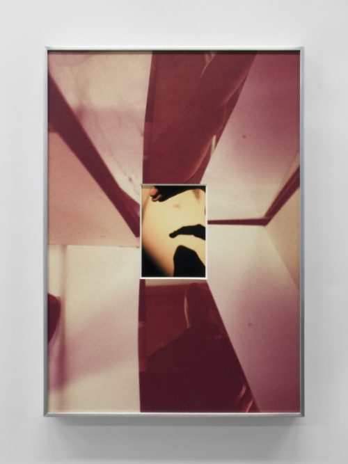 B. Ingrid Olson<br><i>Holding heel, her sweat, backlit shadow</i><br>Inkjet print, and UV inkjet printed matboard in aluminum frame<br>20 x 14 inches<br>2015