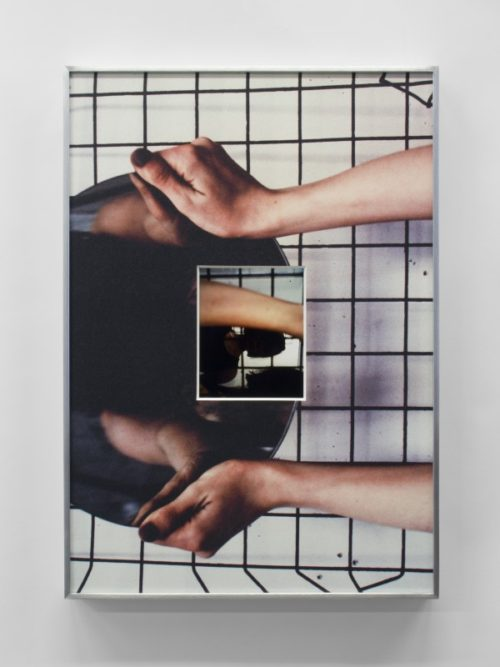 B. Ingrid Olson<br><i>A marker of space between arms and hands was hands</i><br>Inkjet print, and UV inkjet printed matboard in aluminum frame<br>20 x 14 inches<br>2015