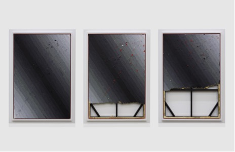 <i>Execution Changes #65 A, B & C (DS, Q1, URJ, LC, Q2, LLJ, LC)</i><br>Acrylic on panel with sumi ink and acrylic varnish<br>Three parts: 48 x 32 inches each panel<br>2012