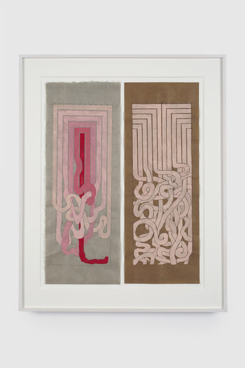 <i>Angular to Curved Experiments 1&2</i><br>Gouache and graphite on mulberry paper<br>18 x 7 inches each piece<br>2015<br>