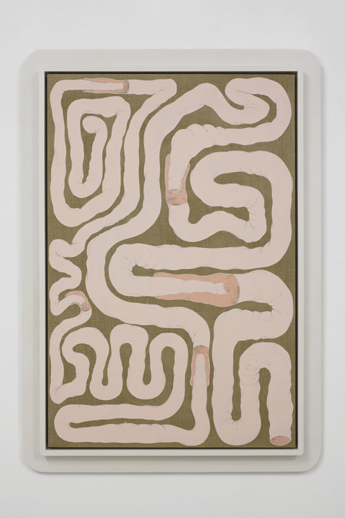 <i>Intestinal Floorplan / Security Apparatus</i><br>Flashe and acrylic on linen with artist's frame<br>48.5 x 34.5 inches<br>2015<br>