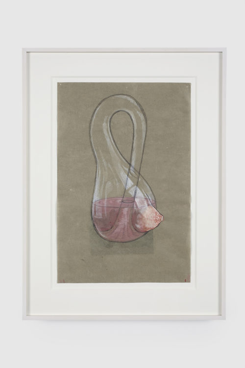 <i>Melanie Klein Bottle</i><br>Gouache and graphite on mulberry paper<br>15 x 10 inches<br>2015<br>