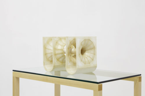 <i>Thought of Forms/Form of Thoughts 01</i><br>Sculpture: Foamcore, koz and shellac<br> Pedestal: Curly maple, birch plywood, hardwood dowels, oil finish and glass<br>9 x 12 x 10 inches<br>2015