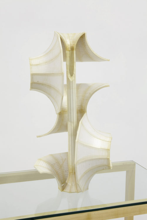 <i>Thought of Forms/Form of Thoughts 06</i><br>Sculpture: Foamcore, koz and shellac; Pedestal: Curly maple, birch plywood, hardwood dowels, oil finish and glass<br>22 x 12 x 11 inches<br>2015<br>