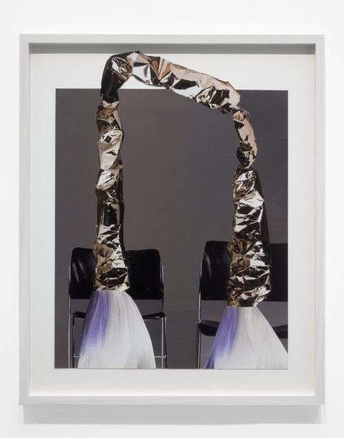 Nicole Wermers<br> <i>Untitled (golden arch)</i><br>Collaged magazine pages<br>16 x 12 inches<br>2015