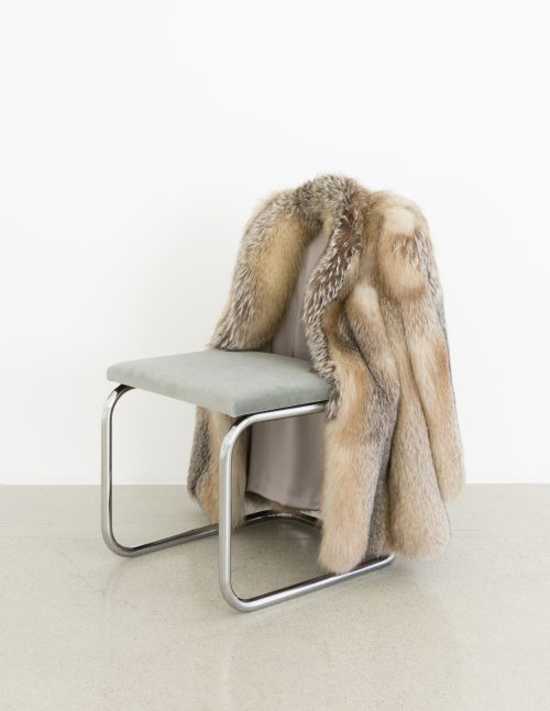 <b>Nicole Wermers</b><br><i>Untitled Chair - AFX -0</i><br>Vintage fur, steel tubing, upholstery, silk and velvet<br>33 3/8 x 25 1/2 x 23 1/2 inches<br>2016