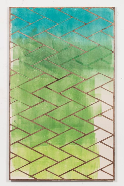 <i>Haze</i><br>Jesmonite, oil paint, stained plywood<br>63 x 38 inches<br>2015